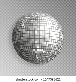 Glitter disco ball vector. Silver mirrorball isolated. Discoball shine light effect. Night club decoration. Vector illustration.