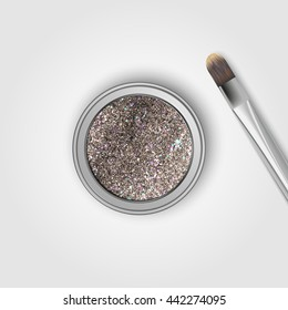 Glitter eye shadows and brush. Vector illustration