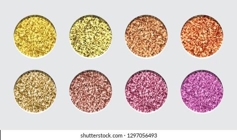 Glitter Eyeshadow Tinsel Shimmer, Lipstick or Powder. Abstract Shine Circles, Make up Palette, Vector.