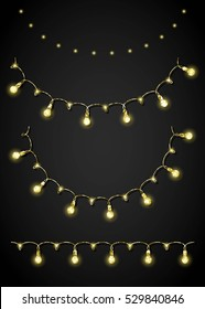 Glitter festoon and garland. Vector elements for party design in glamour style