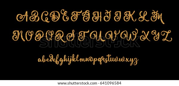 Glitter Gold Alphabet Vector Font On Stock Vector (Royalty Free