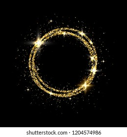 Glitter gold circle frame with space for text. Sparkling golden frame on black background. Bright glittering star dust. Festive border. Vector illustration.