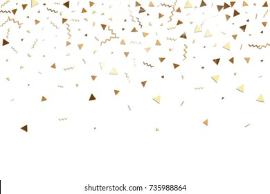 Glitter gold confetti. Isolated vector triangle particles and ribbons on white background. Christmas mockup card. Template for birthday invitation. Celebration party invitation. Flat design.