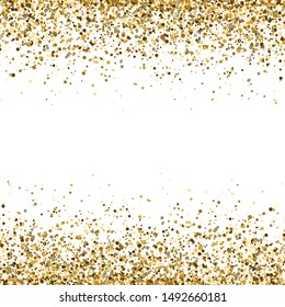 Glitter gold frame with space for text. Luxury glitter decoration. Golden sparkles and dust on transparent background. Bright design for Christmas, Birthday, Wedding. Vector illustration.