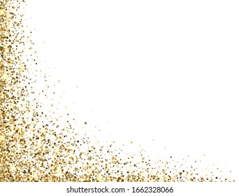 Glitter gold frame with sparkles and dust on white background. Luxury glitter decoration. Golden bright design for Christmas, Birthday, Wedding. Vector illustration