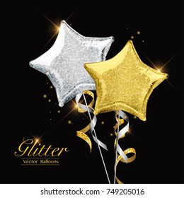 Glitter gold and silver balloons in start shape. Foil party balloons for event design. Illustration for party decorations, birthday, anniversary or celebration.