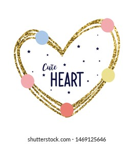 glitter heart color polka text star girl tee illustration art vector