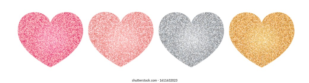 Glitter hearts set. Valentine's day design. Pink, silver and golden heart shapes. Vector illustration on white background.