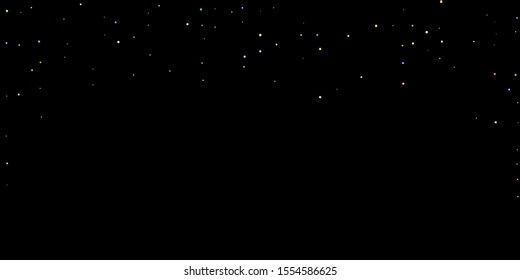 Glitter Iridescent Stars. Holographic Sparkle Fall Confetti. Rainbow Sprocket, Shiny Little, Balls, Circles. Random Stellar Falling Black Background. New Year Scattered Christmas Vector illustration.