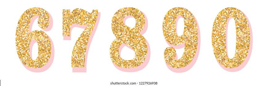 Glitter numbers with pink shadow. Part 2. For decoration of cute wedding, anniversary, party, label, headline, poster, sticker. Vector brilliant shimmer 6,7,8,9,0. Christmas elegant celebration desig