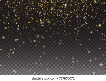 Glitter particles effect. Gold glittering Space star dust trail sparkling particles. Shining Motion Luxury Design. Vector illustration Transparent Background.