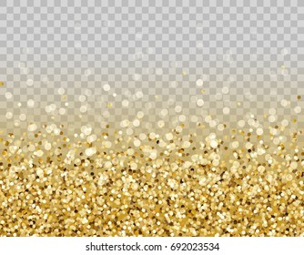 Glitter particles effect for luxury greeting rich card. Vector glow gold shimmer texture border with confetti for new year, christmas design. Light gold sparkles isolated on transparent background