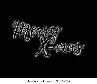 Glitter silver textured calligraphic inscription Merry X-mas of platinum sprinkled confetti. Lettering design element for banner, greeting card, invitation, postcard, flyers. Vector illustration