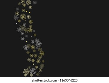 glitter snowflakes frame on black horizontal background shiny christmas and new year frame for gift