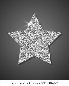 Glitter Stylish Silver Star, vector composition for glamour design