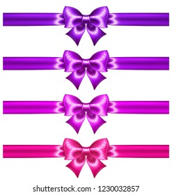 Glitter ultra violet and pink bows with ribbons are perfect for creating gift, wedding, business cards and vouchers