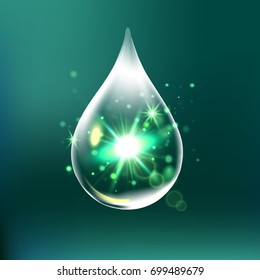 Glitter water drop, water drop with effects isolated on green background. 3D illustration.