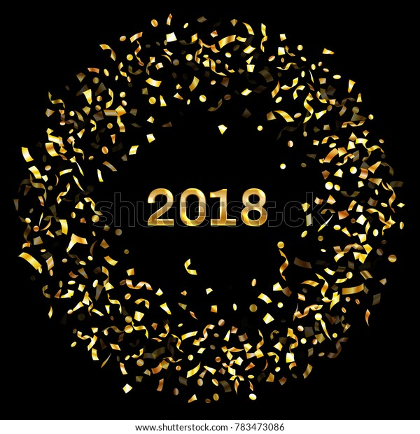 Glittering 2018 New Year card with gold falling confetti and streamers. Foil texture gold glitter confetti tinsels falling background, 2018 greeting card, banner or party invitation template design.
