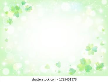 Glittering background of green clover