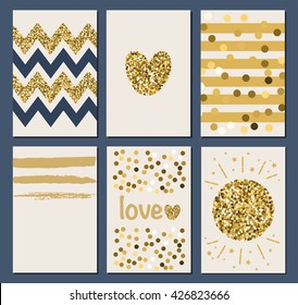 Glittering backgrounds. Collection of 6 card templates. Trendy gold style