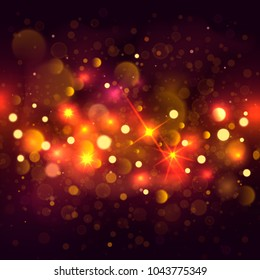 Glittering bokeh background. Illustration of glittering bokeh blots on dark background.