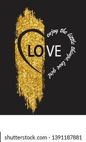 glittering brush lettering,love,for t-shirt slogan-vector