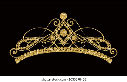 Glittering Diadem. Golden tiara isolated on black background. Vector illustration