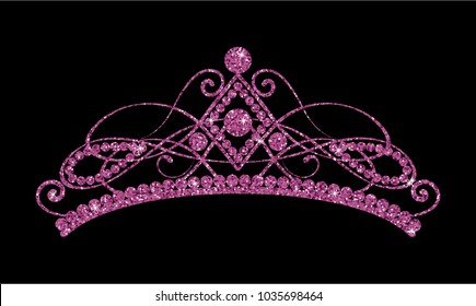 Glittering Diadem. Pink purple tiara isolated on black background. Vector Illustration