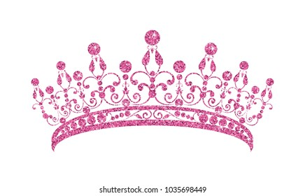 Glittering Diadem. Pink tiara isolated on white background. Vector illustration.