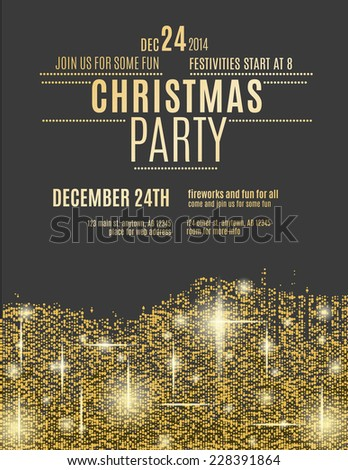 glittering gold christmas party invitation flyer のベクター画像素材