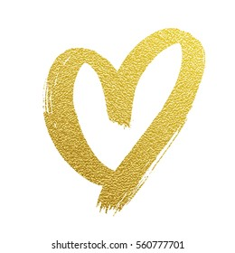 Glittering golden heart for Valentines Day greeting card design. Vector love symbol.