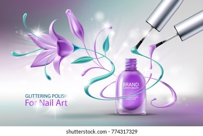 Glittering nail polish in open purple glass bottle, two brushes with colorful drops and beautiful flower. Decorative cosmetics 3D realistic vector illustration. Template for brand advertising, banner