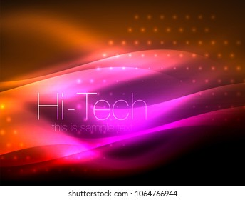 Glittering neon glowin wave, techno modern art abstract background, magical shiny template. Vector illustration