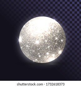 Glittering silver ball, shiny discoball on a transparent background