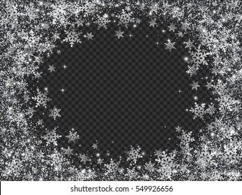 Glittering Snow Blizzard Effect on Transparent Background. Vector Illustration.
