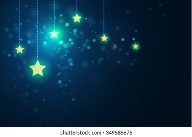 glittering stars on bokeh background vector illustration for use as christmas holiday graphic design project.