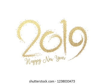 Glittering text 2019 on white background for Happy New Year greeting card design.