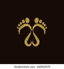 Glittery footprints vector illustration