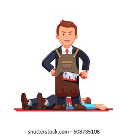 Gloating killer business man standing in necktie suit & craftsman working leather apron holding bloody butcher knife after killing his opponent or enemy. Flat style vector isolated illustration.