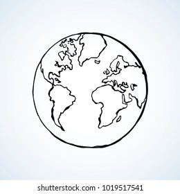 Glob orb round hemisphere shape on white backdrop. Network science outline study concept. Freehand line black ink hand drawn picture logo emblem sketchy in art retro doodle cartoon style pen on paper