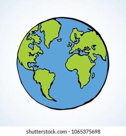 Glob orb runde Hemisphäre-Form auf weißem Hintergrund. Einfache netzwissenschaftliche Studie ui Konzept. Hellblaue und grüne Farbe, handgezeichnet Logo-Logo-Skizze im Art Retro-Doodle-Stil