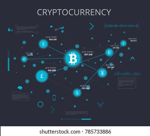 Global Abstract Bitcoin Crypto Currency Technology Connection Vector Illustration