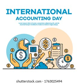 Global accounting day banner. Outline illustration of global accounting day vector banner for web design