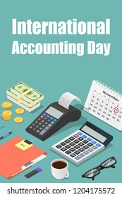 Global accounting day concept background. Isometric illustration of global accounting day vector concept background for web design