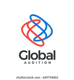 Global Auditio logotype. Two arrows fused together in a chain, located to each other in different directions, lines resembling the earth. Global network or transport.