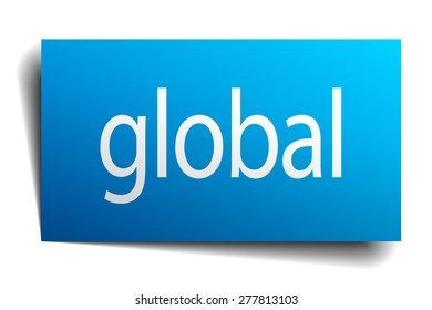 global blue paper sign on white background