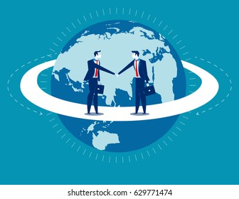 Global business. Businessmen greet man. Concept business communication.