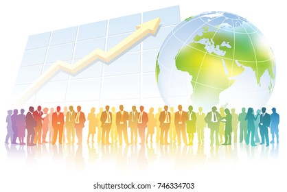 Global business. Businesspeople are standing in front of large chart and large world map.