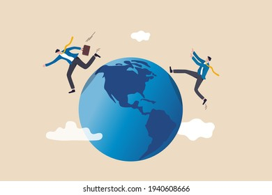 Global business competitor, innovation that change the agile world, international working abroad concept, businessman compete by running away and catch each other on the world, planet earth.