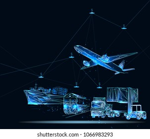 Global business connection technology interface global partner connection of Container Cargo freight train for logistic import export background. Business logistics concept, internet of things.